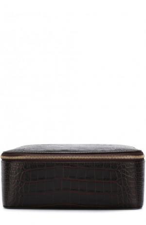 Кожаный футляр для украшений на молнии Smythson. Цвет: коричневый