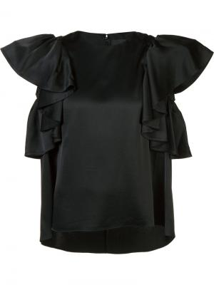 Блузка с оборками на рукавах Co. Цвет: чёрный