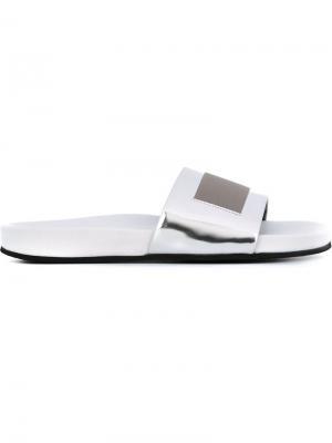 Открытые сандалии с отделкой металлик Each X Other. Цвет: металлический