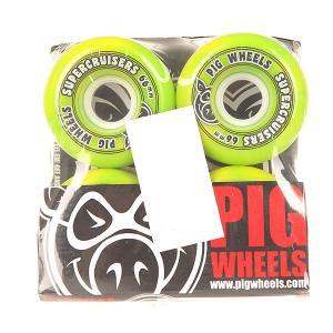 Колеса для скейтборда лонгборда  Supercruiser New Green 85A 66 mm Pig. Цвет: зеленый
