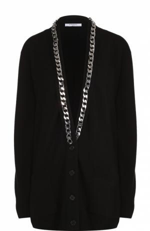 Удлиненный кардиган свободного кроя с декоративной цепью Givenchy. Цвет: черный