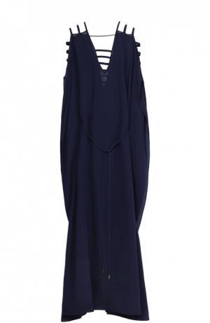 Шелковое приталенное платье-макси Lazul. Цвет: темно-синий
