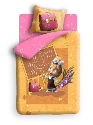 Постельное белье Маша и медведь. Цвет: оранжевый, коричневый