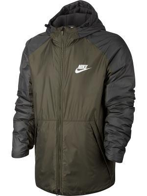 Куртка M NSW SYN FILL JKT HD FLC LN Nike. Цвет: оливковый
