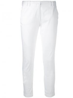 Укороченные брюки кроя скинни Eleventy. Цвет: белый