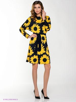 Платье MONDIGO. Цвет: темно-синий, желтый