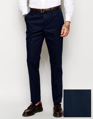 ASOS Поплиновые темно-синие укороченные брюки скинни. Цвет: темно-синий