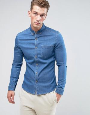ASOS Джинсовая рубашка скинни. Цвет: синий