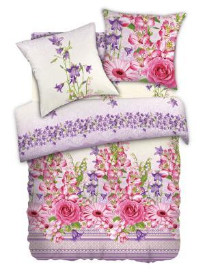 Комплект постельного белья 1,5  бязь Альстромерия Любимый Дом. Цвет: темно-фиолетовый, розовый