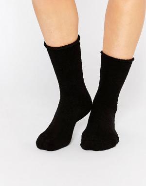 Plush Флисовые носки Rolled. Цвет: черный