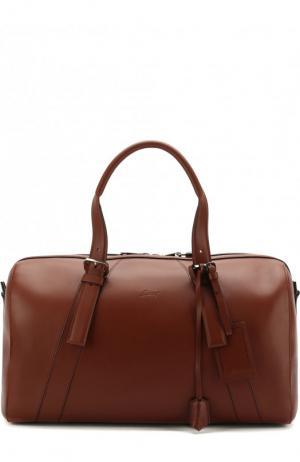 Кожаная дорожная сумка Brioni. Цвет: коричневый