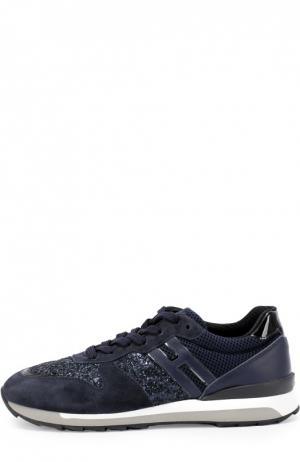 Комбинированные кроссовки с глиттером Hogan. Цвет: синий