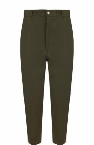 Укороченные брюки из смеси шерсти и хлопка Ami. Цвет: хаки