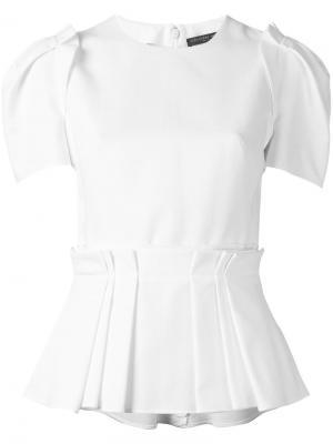 Плиссированная блузка Alexander McQueen. Цвет: белый