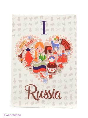 Обложка для паспорта Россия Я люблю Россию А М Дизайн. Цвет: белый, бордовый