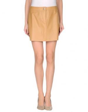 Кожаная юбка MARIELLA BURANI LE SPORTIVE. Цвет: песочный