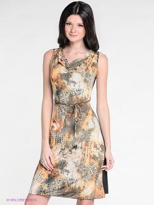 Платье DRS Deerose. Цвет: черный, рыжий