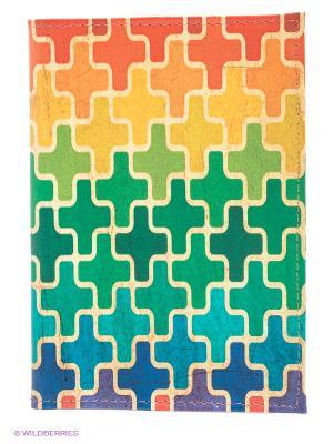 Обложка для паспорта Пазл Mitya Veselkov. Цвет: зеленый, желтый, синий