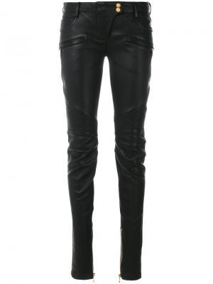Байкерские брюки Balmain. Цвет: чёрный