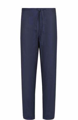 Домашние хлопковые брюки свободного кроя с поясом на резинке Zimmerli. Цвет: темно-синий