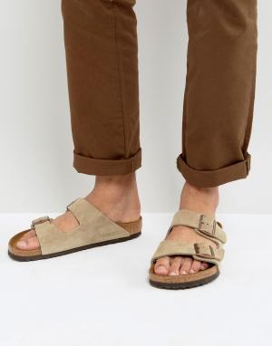 Birkenstock Серо-бежевые замшевые сандалии. Цвет: бежевый