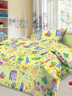 Комплект в кроватку Ясли Каляка, простыня на резинке, бязь Letto. Цвет: желтый