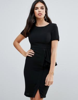 Zibi London Платье-футляр с короткими рукавами и оборкой сбоку. Цвет: черный