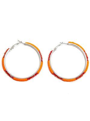 Серьги Kameo-bis. Цвет: красный, оранжевый, серебристый