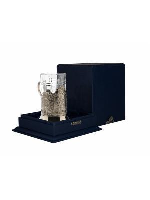 Набор для чая никелированный с чернью Георгий Победоносец (подстаканник + стакан футляр) Кольчугинъ. Цвет: серебристый