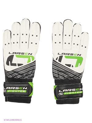 Перчатки вратарские Fighter Larsen. Цвет: белый, зеленый, черный