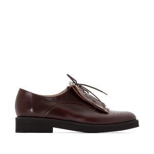 Ботинки-дерби из кожи с мексиканской планкой La Redoute Collections. Цвет: черный,шоколадный