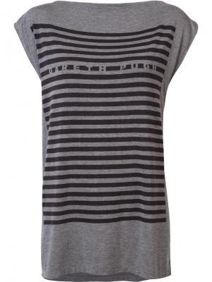 Полосатая футболка Gareth Pugh. Цвет: серый