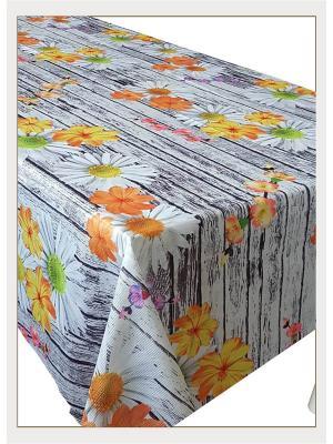Скатерть с фотопринтом Цветы на деревянном столе, 150x150 см Magic Lady. Цвет: серый, фиолетовый, оранжевый, желтый, белый, зеленый