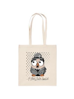 Холщовая сумка с совой Чарли Чаплин Goofi. Цвет: бежевый