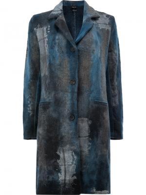 Однобортное пальто Avant Toi. Цвет: синий