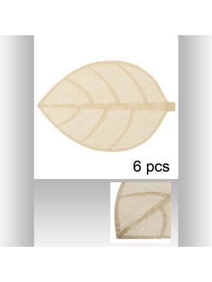 Набор из 6-ти ковриков настольных индивидуальных Листок 50х33см , цвет бежевый JJA. Цвет: бежевый
