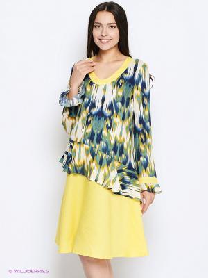 Платье MammySize. Цвет: желтый, зеленый