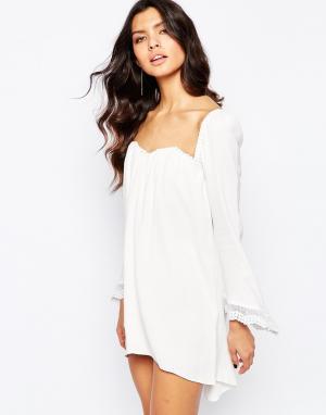 Stone Cold Fox Белое свободное платье Pieces. Цвет: белый