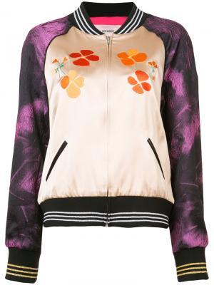 Куртка-бомбер с контрастными панелями Rodarte. Цвет: розовый и фиолетовый