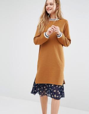 I Love Friday Платье-джемпер с цветочным принтом на юбке. Цвет: желтый