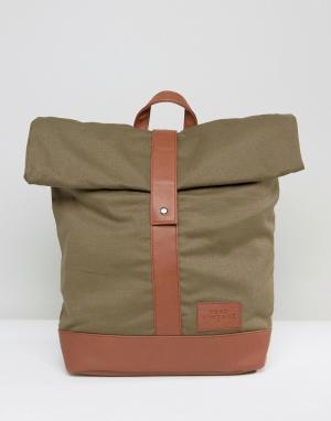 Dead Vintage Рюкзак цвета хаки с закатанным верхом. Цвет: зеленый