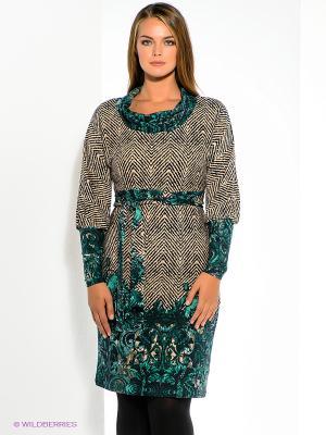 Платье МадаМ Т. Цвет: бежевый, черный, зеленый