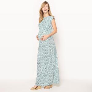 Платье длинное для периода беременности из вискозы, красивый бантик сзади La Redoute Collections. Цвет: рисунок/зеленый