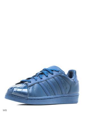 Кеды жен. SUPERSTAR GLOSSY TO TECSTE/TECSTE/CBLACK Adidas. Цвет: синий