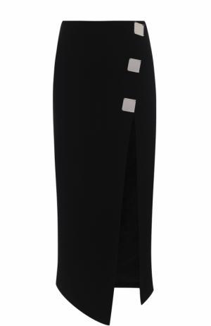 Однотонная юбка-миди с высоким разрезом David Koma. Цвет: черный