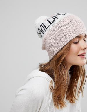 Wildfox Вязаная шапка-бини с помпоном - Розовый 7013241