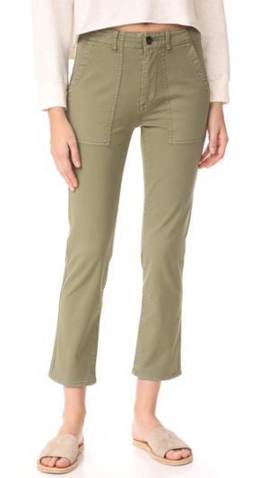 Практичные прямые свободные брюки Wes AG. Цвет: зеленовато-желтый урожай оливковый