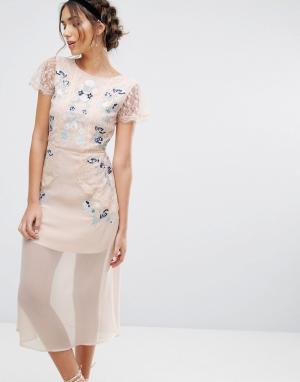 Frock and Frill Платье миди со вставками и вышивкой &. Цвет: розовый