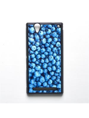 Чехол для Sony Xperia T2 Ultra Черника Boom Case. Цвет: лазурный