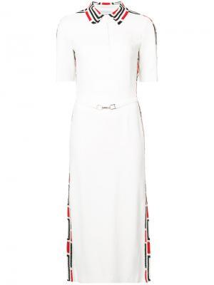 Платье-миди с воротником-поло Gabriela Hearst. Цвет: белый